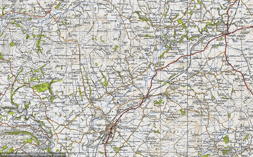 Old Map of Historic Map covering Asker Hill in 1947