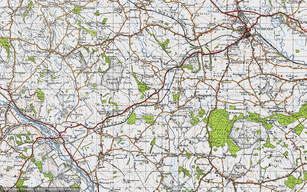 Old Map of Historic Map covering Leese Hill in 1946