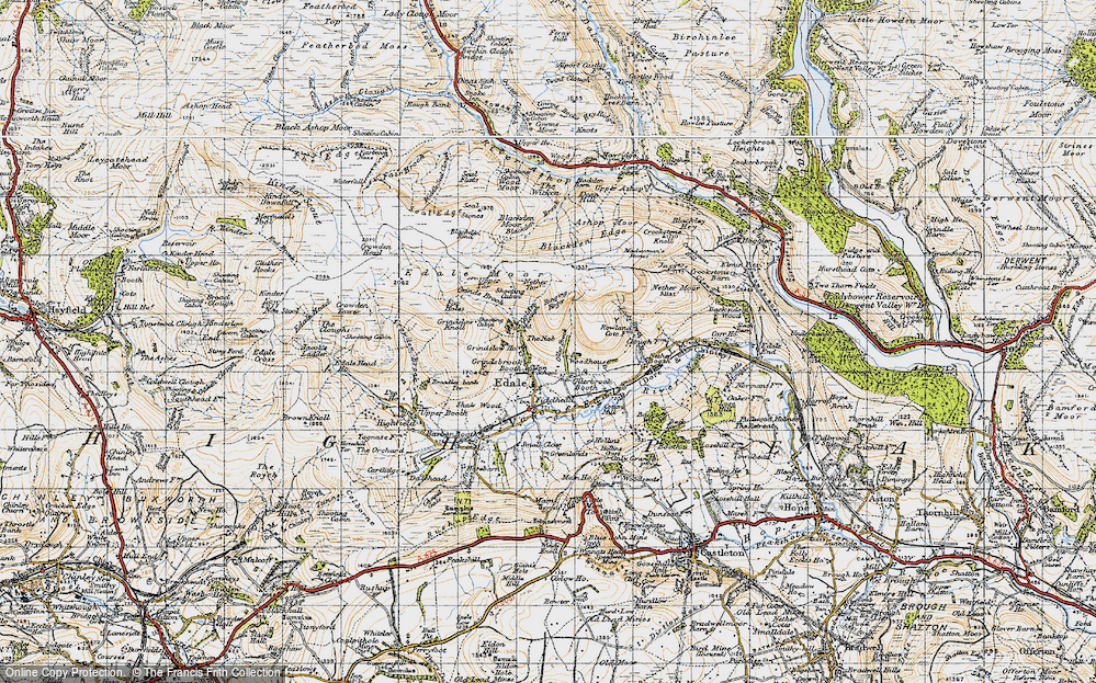 Old Map of Historic Map covering Wood Moor in 1947