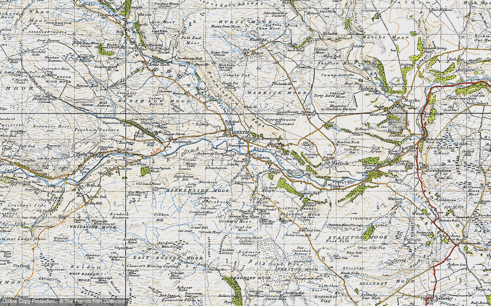 Old Map of Grinton, 1947 in 1947