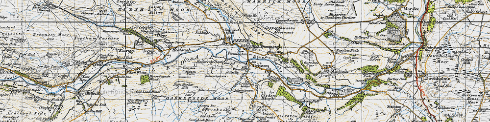 Old map of Grinton in 1947