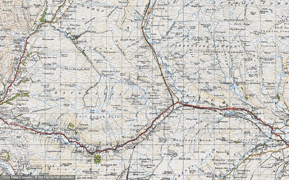 Old Map of Historic Map covering Aisgill Moor Cotts in 1947