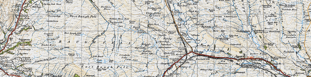 Old map of Aisgill Moor in 1947