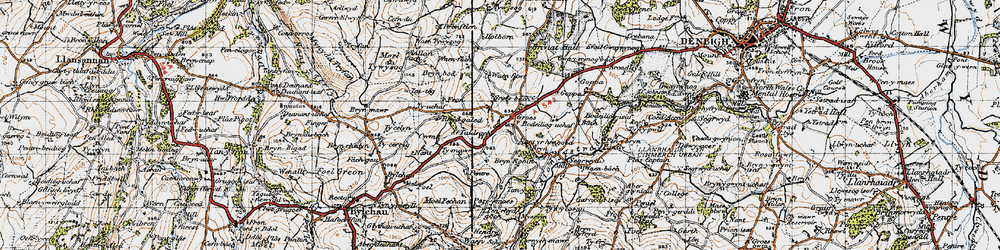 Old map of Afon Ystrad in 1947