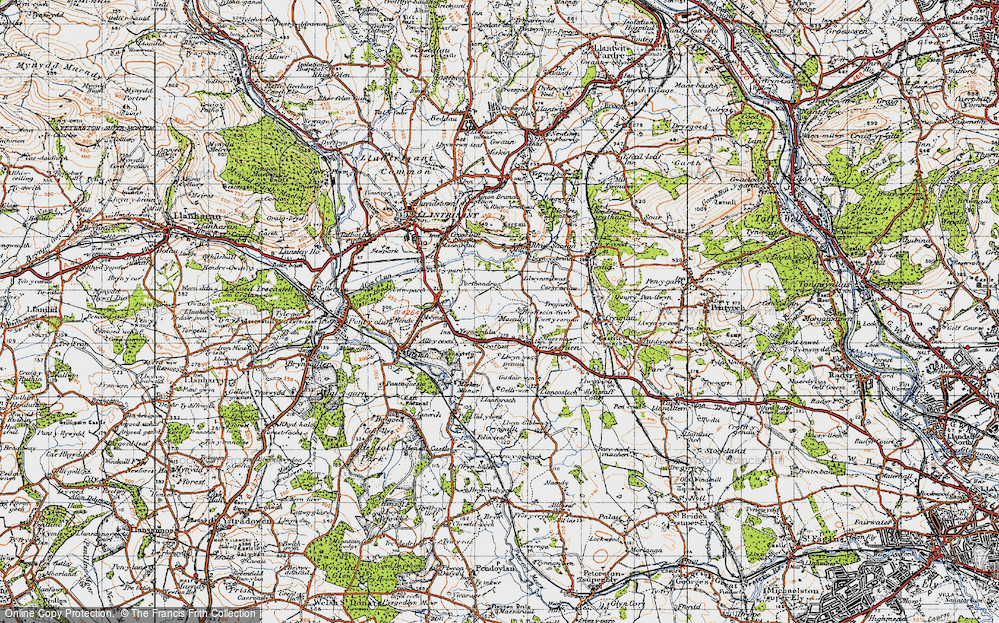 Old Map of Historic Map covering Mwyndy in 1947