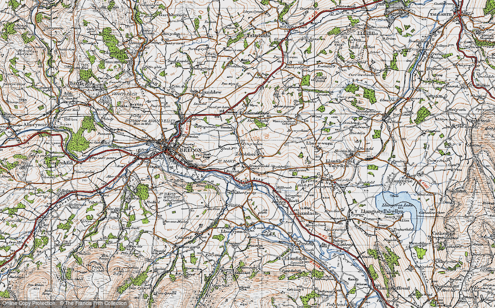 Old Map of Historic Map covering Abercynrig in 1947