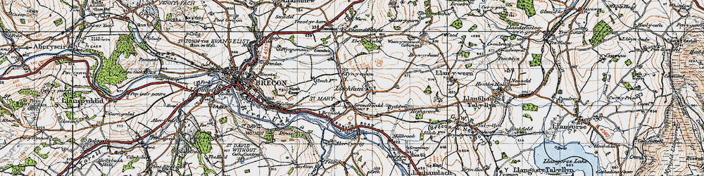 Old map of Abercynrig in 1947