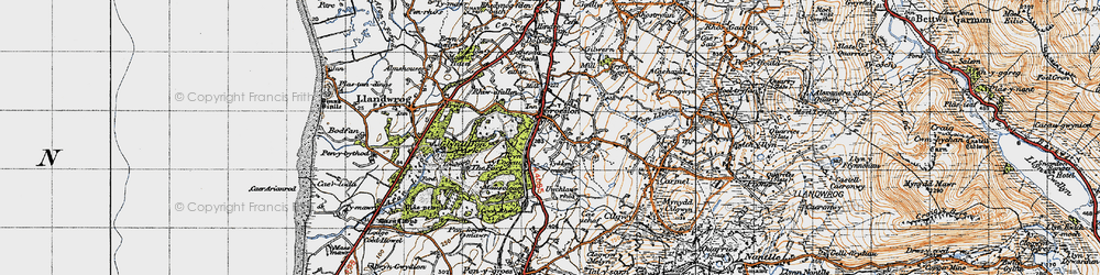 Old map of Groeslon in 1947
