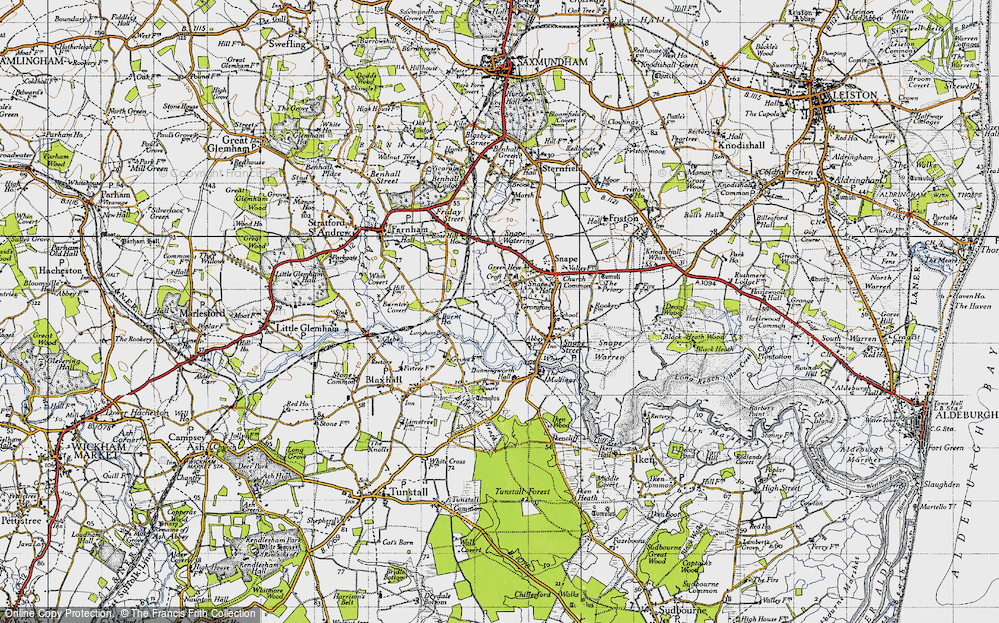 Old Map of Historic Map covering Langham Br in 1946