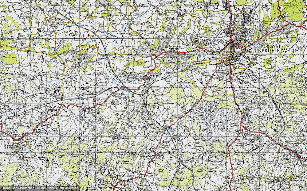 Old Map of Historic Map covering Lealands in 1946