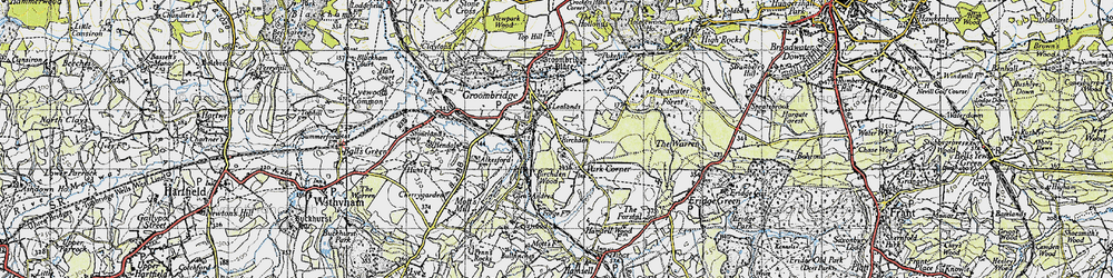 Old map of Groombridge in 1946
