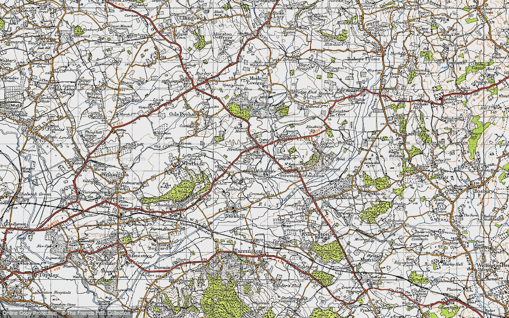 Old Map of Historic Map covering Woodbury in 1947