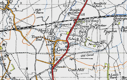 Old map of Grove in 1947