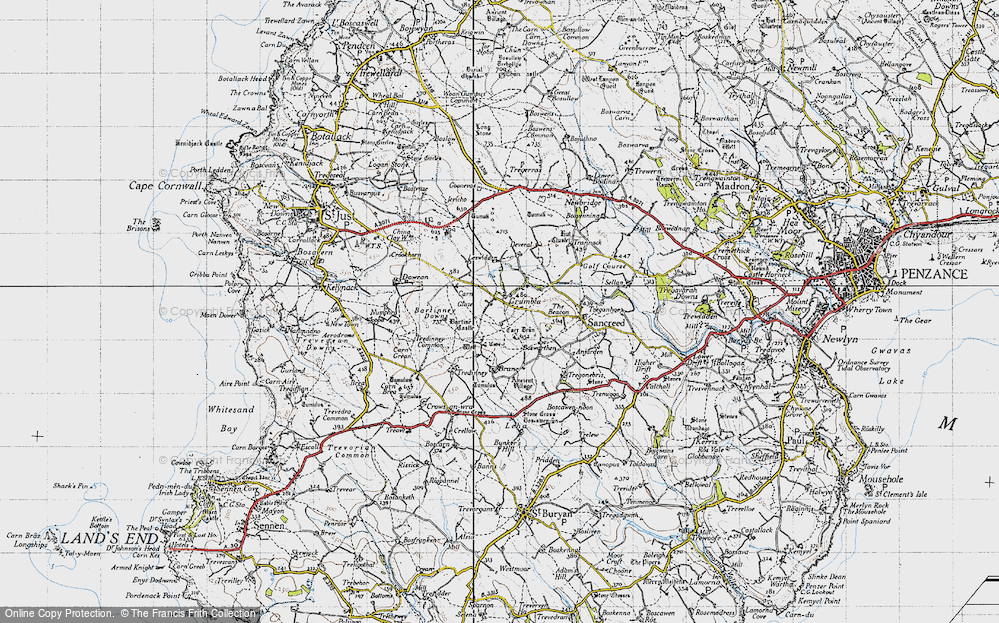 Old Map of Historic Map covering Leswidden in 1946