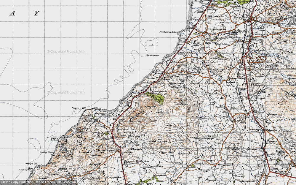 Old Map of Historic Map covering Afon Hen in 1947