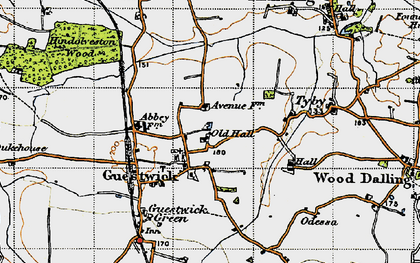 Old map of Wood Dalling Hall in 1946
