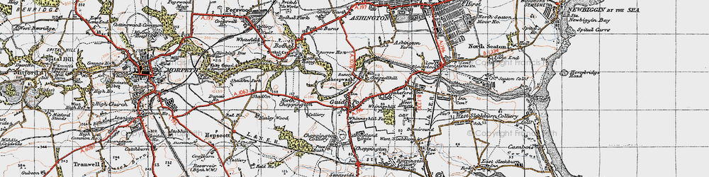 Old map of Guide Post in 1947