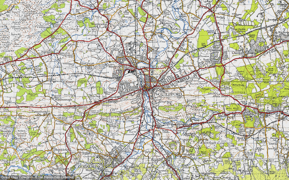 Map Of Guildford Map of Guildford, 1940   Francis Frith