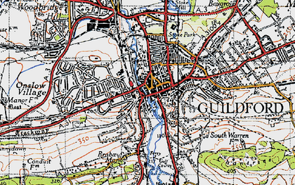 Old map of Guildford in 1940