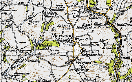 Old map of Wigley Cross in 1946