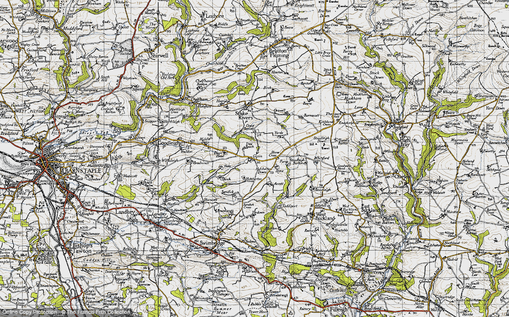 Old Map of Historic Map covering Whitsford in 1946