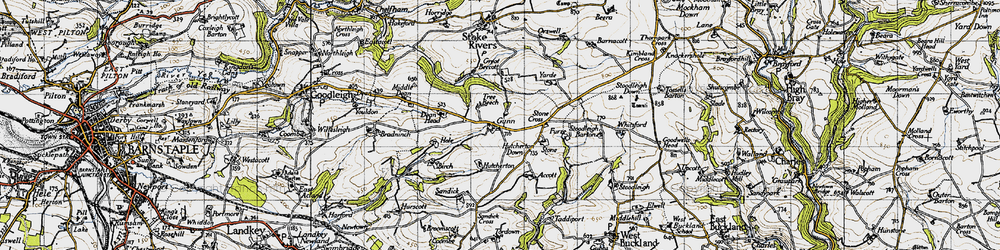 Old map of Whitsford in 1946