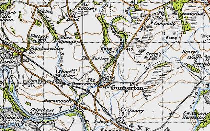 Old map of Gunnerton in 1947