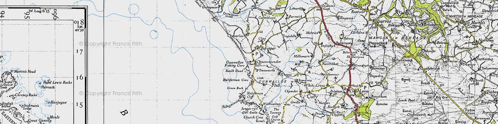 Old map of Gunwalloe in 1946
