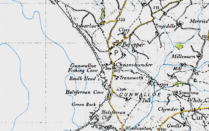 Old map of Gunwalloe Fishing Cove in 1946