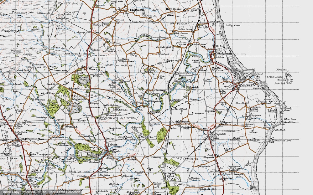 Old Map of Historic Map covering Acklington Park in 1947