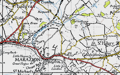 Old map of Gwallon in 1946