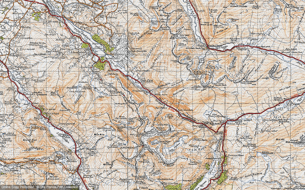 Old Map of Historic Map covering Afon Las in 1947