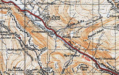 Old map of Afon Nant Peris in 1947