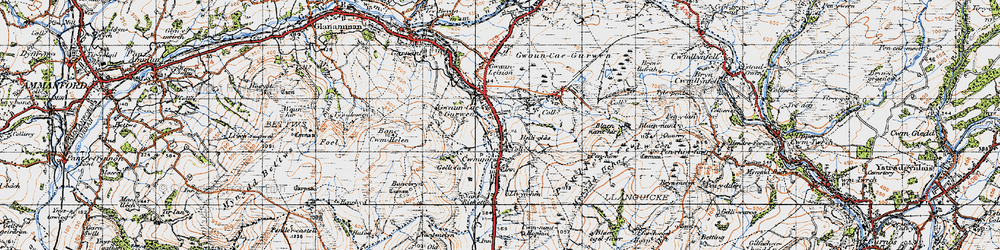 Old map of Gwaun-Cae-Gurwen in 1947