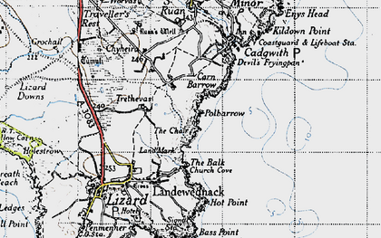 Old map of Whale Rock in 1946