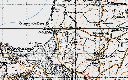 Old map of Gwbert in 1947