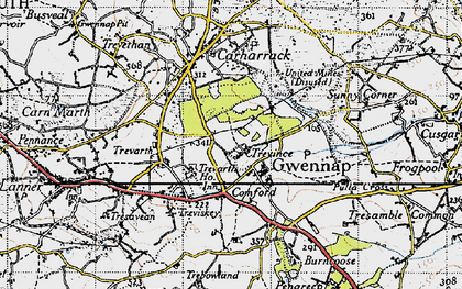 Old map of Gwennap in 1946
