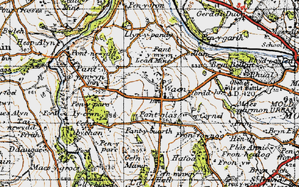 Old map of Gwernaffield in 1947