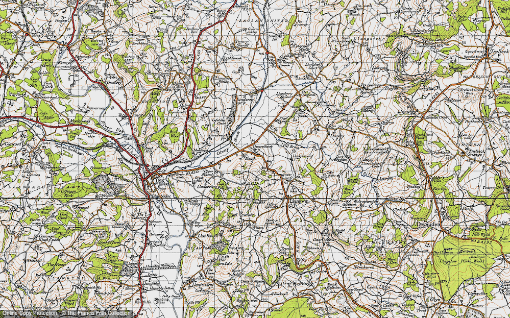 Old Map of Historic Map covering Allt-y-bela in 1946