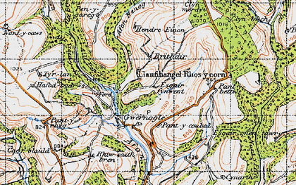 Old map of Allt Troed-y-rhiw in 1947