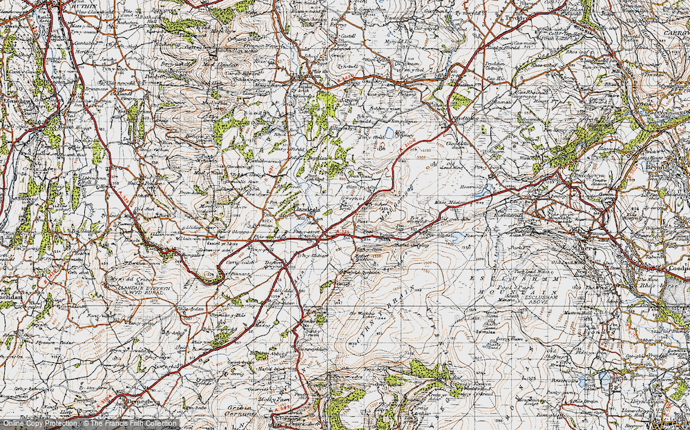 Old Map of Gwernol, 1947 in 1947