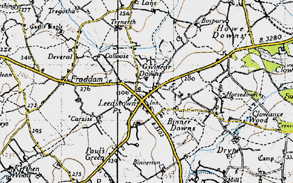 Old map of Gwinear Downs in 1946