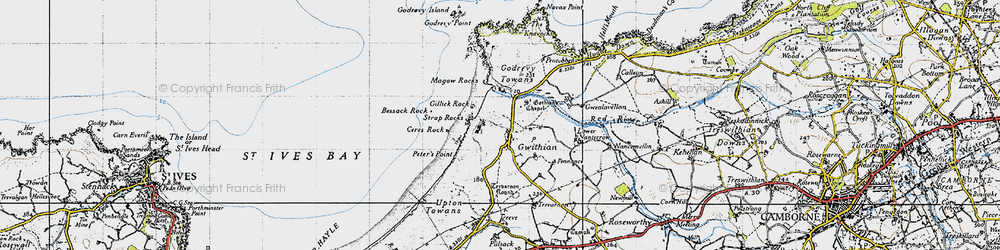 Old map of Gwithian in 1946