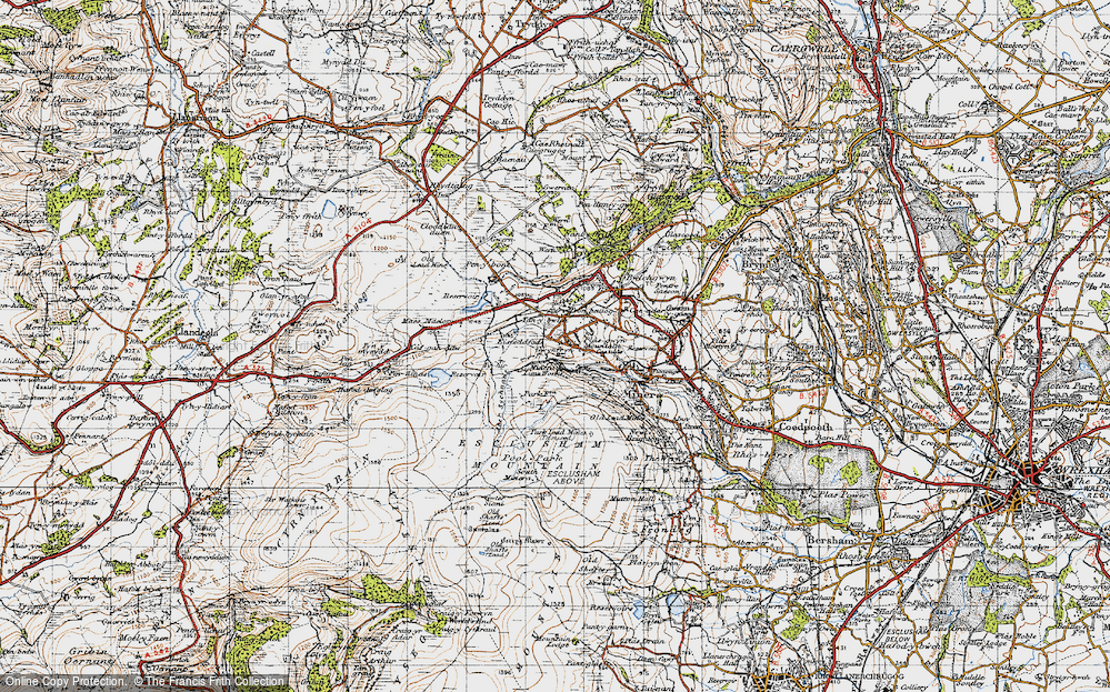 Old Map of Historic Map covering Aber Sychnant in 1947