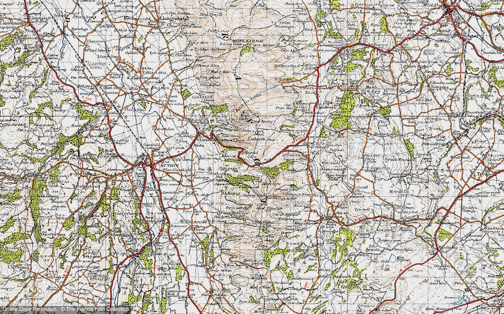 Old Map of Gyrn, 1947 in 1947