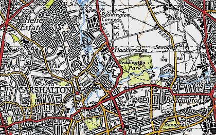 Old map of Hackbridge in 1945