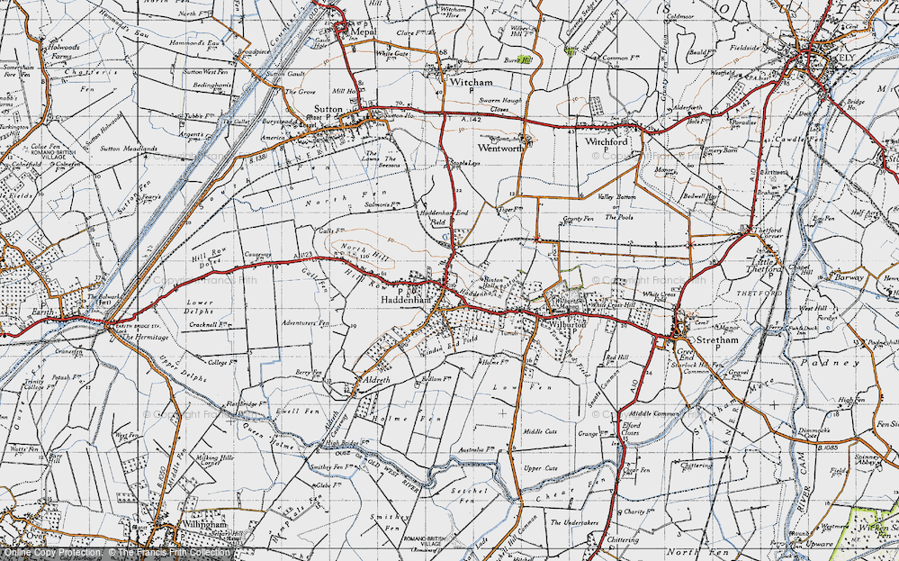 Old Map of Historic Map covering Linden End Field in 1946
