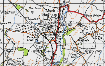 Old map of Hadham Cross in 1946