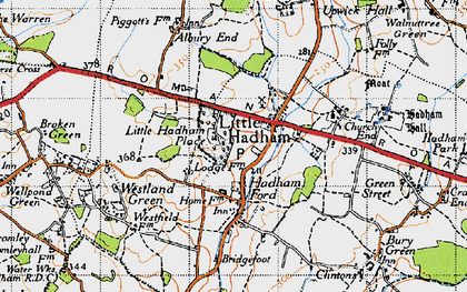 Old map of Hadham Ford in 1946