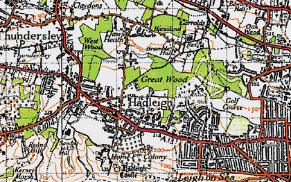 Old map of Hadleigh in 1945